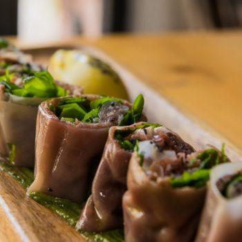 Falso sushi de solomillo de vaca pinta